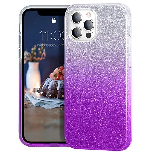 MATEPROX Glitter Cristal Brillante para Funda iPhone 12 Pro MAX, TPU Bumper Anti-Golpes Bling Protector Cover Funda para iPhone 12 Pro MAX 6.7'' 2020-Morado Degradado