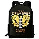 Kimi-Shop Sac à Dos Scolaire US Army retraité adjudant-Chef emblème CW3 3D Adulte Loisirs de Plein air Sport Sac à Dos