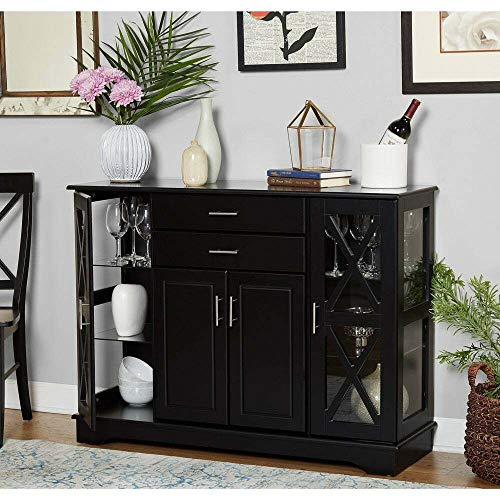 Modern-Farmhouse-Black-Wood-Buffet-Sideboard-Cabinet-Cupboard-Storage-X-Style