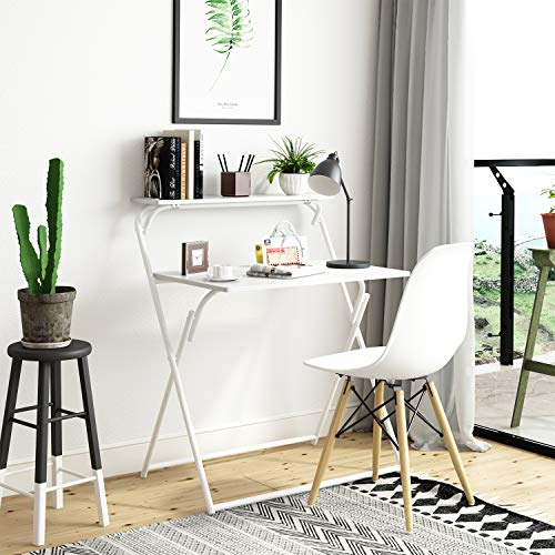 BELIWIN Folding Computer Desk, 2-Tier PC Table for Home Office Study Workstation for Small Space, No Assembly (White)
