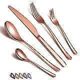 Juego de cubiertos de oro rosa de 30 piezas, juego de cubiertos de cobre de acero inoxidable, juego de cubiertos de oro rosa chapado en titanio, juego de utensilios de servicio para 6(cobre brillante)