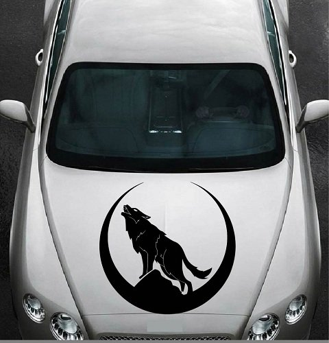 In-Style Decals Vehicle Auto Car Décor Vinyl Decal Art Sticker Howling Wolf Moon Wild Animal Removable Design for Hood 1161