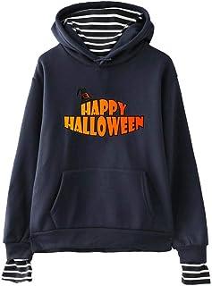 Sudadera con Capucha de Dos Piezas con Estampado de Halloween y Rayas A Rayas para Mujer