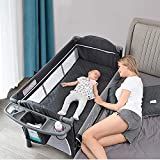Bed Side Crib for Baby, Sleeper Bassinet Includes Travel Case, Mattress, Sheet, and Urine Pad - Keep Newborn Babies