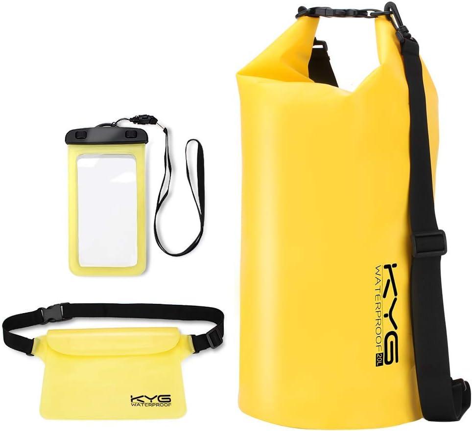 KYG Bolsa Estanca Impermeable 10L/20L Set de Mochila Estanca con Funda de Móvil y Bolsa de Cintura, Bolsa Seca para Playa y Deportes al Aire Kayak Senderismo Esquí Pesca Escalada Camping