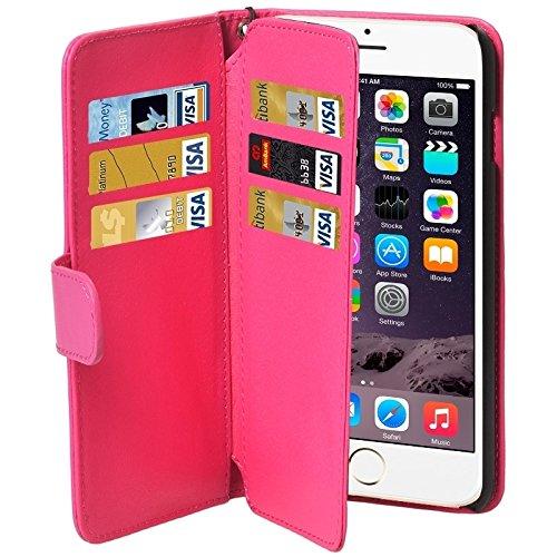 Mode lederen telefoonhoesje Portemonnee Stijl Six Card Slot IPhone 6 Plus En 6S PlusPU Lederen Hoesje Met Lanyard, Magenta