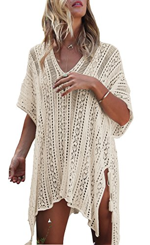 Wander Agio Beach Swimsuit for Women Sleeve Coverups Bikini Cover Up Net Slit Dark Beige
