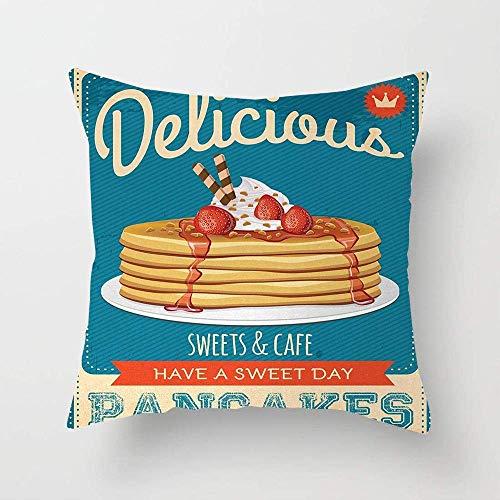 N\A Deliciosos panqueques con Crema y Mermelada Ochenta Diner Flyer Design Funda de Almohada para sofá, Cama de algodón o sofá Funda de Almohadas