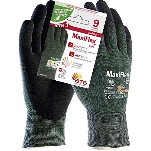 ATG 34-8743 MaxiFlex CutTM Antitaglio Livello 3B, Grigio/Verde, Taglia 9