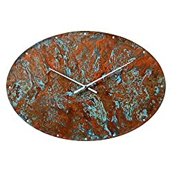 20-inch Large Oval Copper Wall Clock - Art Decor 7th Anniversary Gift - for Home Kitchen Living Room