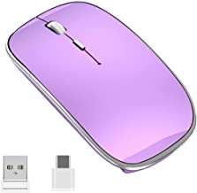 Halpilt Wireless Mouse Rechargeable Slim Silent Mouse 2.4G Portable Mobile Optical Office Mice with USB & Type-c Receiver ...