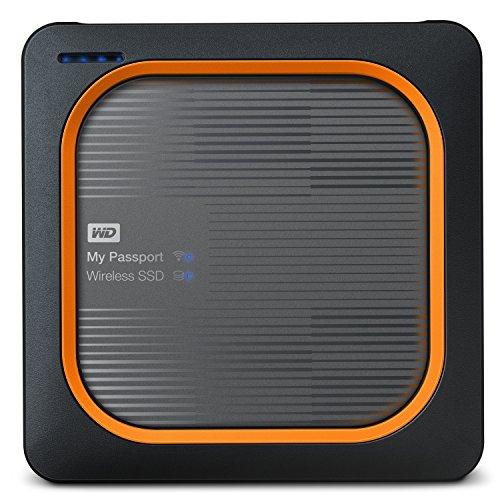 WD My Passport Wireless SSD externe Festplatte 2 TB (Wifi-Speicher, integrierter SD Kartenleser, stoßfeste SSD, lange Akkulaufzeit, 390 MB/s Übertragungsraten)