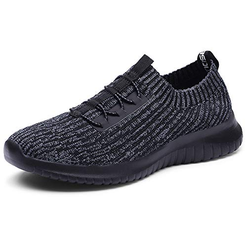 TIOSEBON Women's Lightweight Casual Walking Athletic Shoes Breathable Running Slip-On Sneakers 5 US Deep Gray-Black