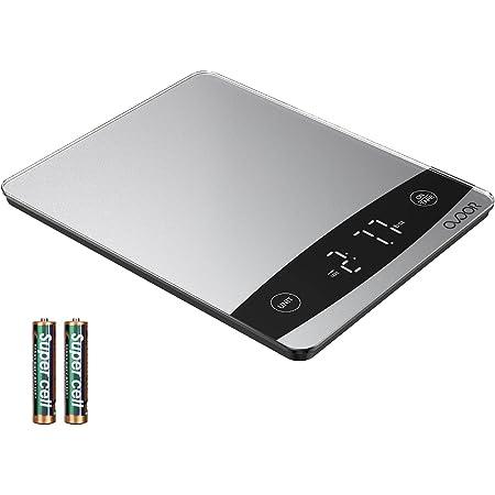 OVOOR Báscula Digital de Cocina 10kg/22 lbs Balanza Alimentos Multifuncional con Superficie de Vidrio Templado y Pantalla LED para Peso de Comida (Baterías Incluidas)