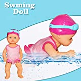 CapsA Water Baby Doll Swimming Doll Waterproof Electric Doll Art Cute Dolls Mini Ornaments Non-Silicone Inedible Mini Home Decorations Holiday Birthday Gifts Present for Kids (12.99x5.51x3.54 in)