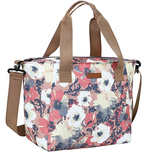 MIER Lunch Bags for Women Large Insulated Lunch Tote Bag Lunchbox Container for Work College Travel Beach Adjustable Shoulder Strap Anemone