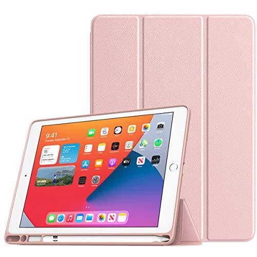 TiMOVO Funda para Nuevo iPad de 8ª Generación 2020,Nuevo iPad 7ª Generación 10.2' 2019,Cubierta de Tres Plegables con Portalápiz y Auto Sueño/Estela para iPad 10.2-Inch - Oro Rosa