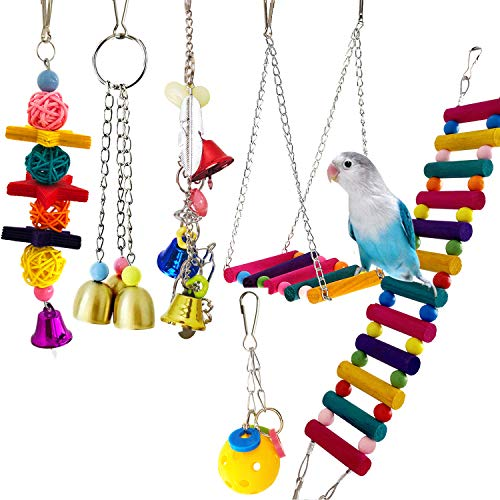 Bird Parrot Toys Ladders Swing Chewing Toys Hanging Pet Bird Cage Accessories Hammock Swing Toy for Small Parakeets Cockatiels, Lovebirds, Conures, Macaws, Finches (Bird Swing Ladder Toys Pack of 6)