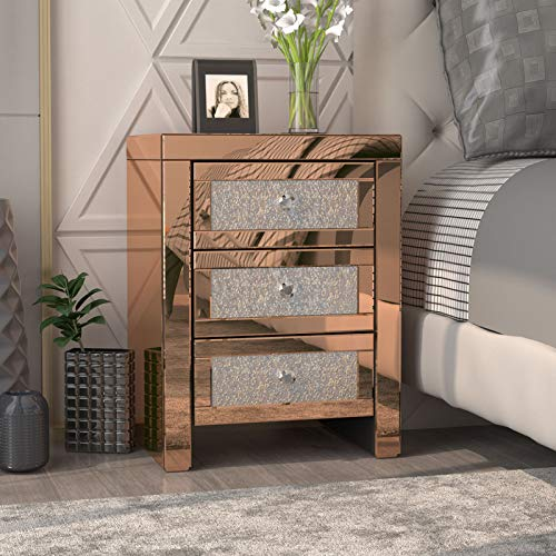 Mecor Mirrored End Table 3 Drawers Mirror Accent Side Table Golden Finished Nightstand for Living Room/Bedroom (Crystal Golden)