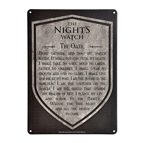 Game of Thrones Schild Schwur der Nachtwache 21x15cm Metall grau