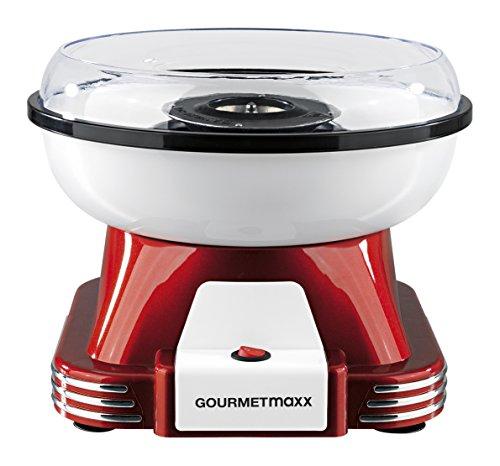 GOURMETmaxx Machine à Barbe à Papa professionnelle | Retro Cotton Candy Appareil pour Maison | Utiliser Sucre Ordinaire ou Bonbons Durs Sans Sucre [Rouge/Blanc]
