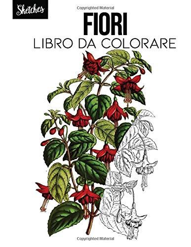 Fiori Libro da colorare: schizzi botanici, fiori acquarello