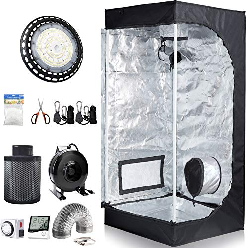 CDMALL 24''x24''x48'' Grow Tent Room Complete Kit + LED 300W Grow Light + 4' Carbon Filter Combo for Hydroponic Growing (LED300W+4'' Filter Combo+24''x24''x48'' Kit)