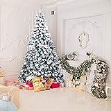 SAFGH Árbol de Navidad de Pino con bisagras Artificiales de Primera Calidad con Soporte de Metal para decoración navideña Verde y Blanco Entrega rápida, árbol de Navidad de Nieve flocada de 6 pies
