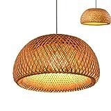 Vintage tissé pendentif lampe en bambou naturel rotin lustre à la main Creative Garden suspendu lampe E27 hauteur réglable lampes suspendues Restaurant salon de thé chambre salon café,30cm