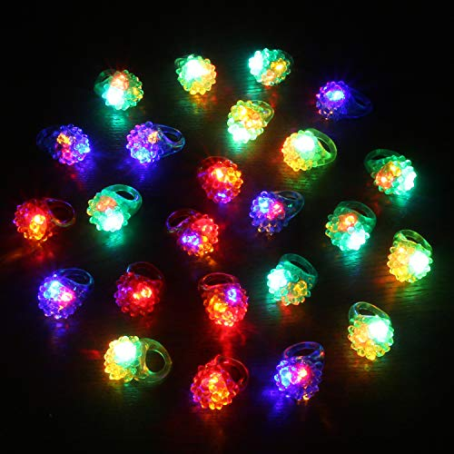 Novelty Place LED Jelly Ring, Light-Up Bumpy Rings Flashing Party Toys for Kids Birthday Party & Halloween (24 Pack)