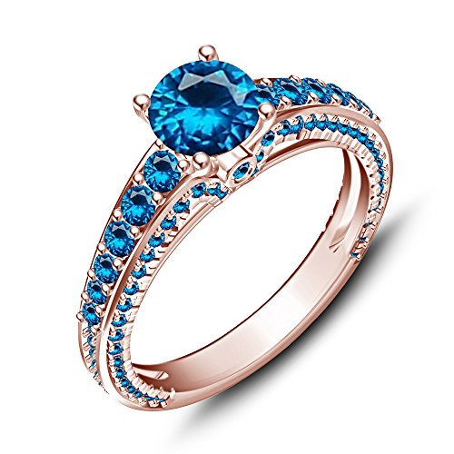 La moda de la astilla esterlina Vorra 14 K chapado en oro rosa con topacio Disney princesa Ariel anillo de boda