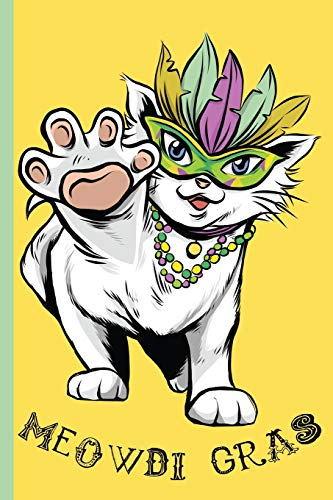 Meowdi Gras - Mardi Gras Cat Wearing Feather Mask and Colorful Beads: College Ruled Notebook