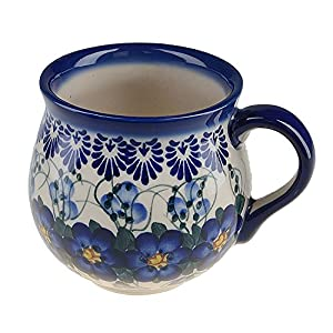 BCV Classic Boleslawiec, Polish Pottery Hand Painted Ceramic Mug Barrel (300, U-003)
