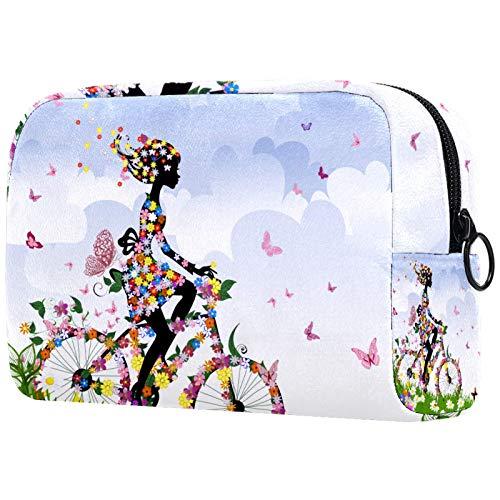 ATOMO Makeup Bag, Fashion Cosmetic Travel Bag Large Toiletry Bag Makeup Organizer for Women, Spring Girl Rading A bike Flower Butterfly