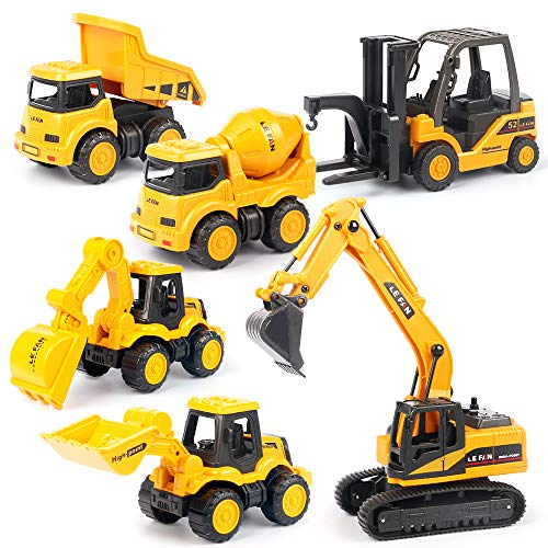 Mini Construction Trucks, Construction Vehicles Site for Kids Engineering Toys Playset, Excavator, Bulldozer, Forklift, Dump Truck, Mixer Truck, Gift for Age 3 Years and Up Boys Girls Children
