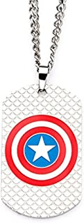Marvel Stainless Steel Captain America Logo Dog Tag Pendant 24 inch long Chain