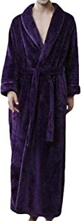 Mens Lapel Soft Spa Long Bathrobe Comfy Full Length Warm Long Nightdress Sleepwear