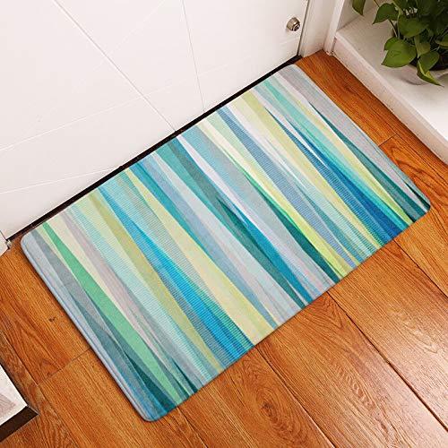 HLXX Alfombras de Puerta con Estampado de Rayas Coloridas alfombras de Interior para Cocina alfombras de Entrada alfombras para Puerta de Entrada Alfombra de decoración del hogar A7 40x60cm