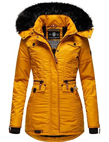 Navahoo Damen Winter-Jacke Winter-Mantel Steppmantel Schätzchen Yellow21 Gr. XL