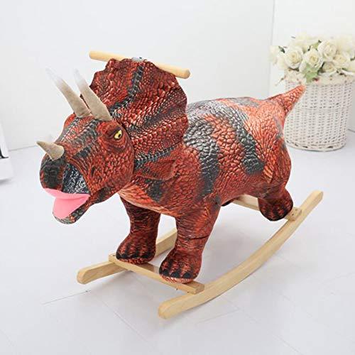 Y-yaoyi Kids Toy Rocking Horse Wood Plush Pony Handle Ride on Animal Riding Traditional Rocker Gift/Sound (Green/Pink Dinosaur),A