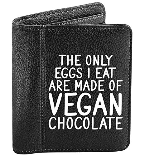 Flox Creative - Portafoglio da uomo, motivo: solo uova, mangio cioccolato vegano, Nero (Nero) - 06615-MENSWALLET-BLACK