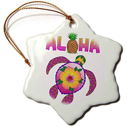GFGKKGJFF Hawaii Aloha From Hawaii With A Honu, A Tropical Seaturtle Art Design Ceramic Christmas Ornaments Novelty Christmas Tree Decoration Hanging Ornament Xmas Gifts 3 Inches