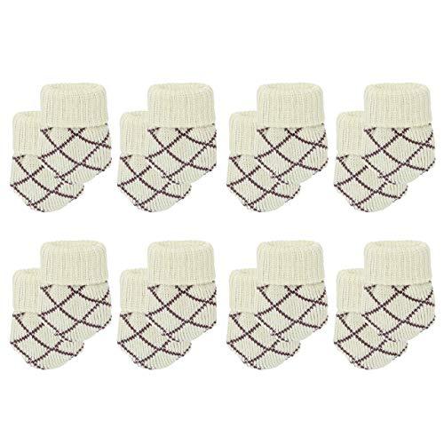 Mogokoyo 16 x Stuhlbeinsocke süß Möbel Socken Anti-Rutsch Wollsocken Hocker Tabellen Cotton Caps Fußboden Schutz Stuhl Bein Floor Protector (Karo#2)