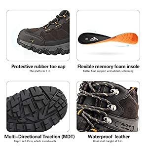 NORTIV 8 men's hiking boots outdoor mid-term hiking hiking boots waterproof hiking shoes JS19004M-BROWN-SZ-08