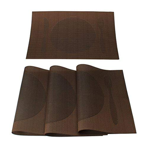 N/A Abwaschbare Deckchen Set mit 4 rutschfesten Matten aus PVC, gekreuzt, hitzebeständig, für Esstisch, rechteckig, Besteck-Motiv, braun, 18 Zoll x 12 Zoll