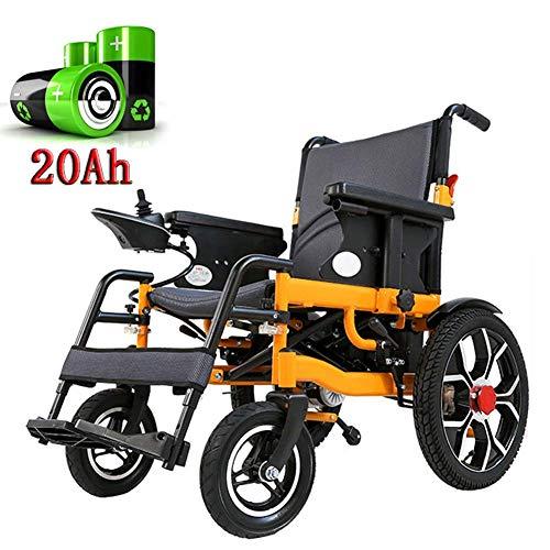 ZKORN Elektrischer Rollstuhl, Leichter Rollstuhl Faltbarer Elektrorollstuhl mit Doppelfunktion Luft- und Raumfahrt Aluminium-Li-Ionen-Batterie 360-Grad-Joystick-Komfortmatte für behinder