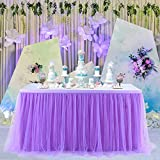 6ft Purple Table Skirt Tulle Table Cloth Tutu Table Skirt for Rectangle Tables or Round Tables Tutu Table Skirting For Mermaid Party Wedding Birthday Party&Home Decoration (L6(ft) H 30in, Purple)