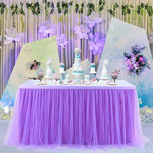 Suppromo 6ft Purple Table Skirt Tulle Table Cloth Tutu Table Skirt for Rectangle Tables or Round Tables for Baby Shower Girl Mermaid Party Wedding Birthday Party Decoration (L6(ft) H 30in, Purple)