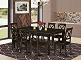 East West Furniture 9-Piece Set Included a Self-Storing Butterfly Leaf Table and 8 Dining Room Chairs, Solid Wood Kitchen Seat & X-Back, Cappuccino Finish