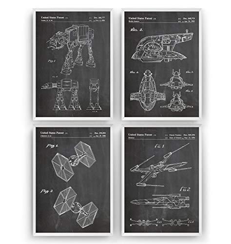 Krieg der Sterne Patent Poster - Set Of 4 Prints - Jahrgang Bild Drucke Kunst Geschenke Zum Männer Frau Entwurf Dekor Retro Art Blueprint Decor - Rahmen Nicht Enthalten